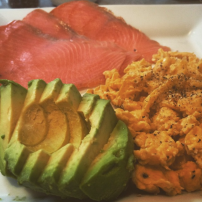 Smoked salmon, avocado and scrambled eggs