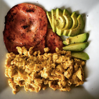 Bacon, scrambled egg and avocado