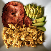 Bacon, scrambled egg and avocado
