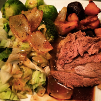Roast beef with roast veg, cabbage and brussel sprouts