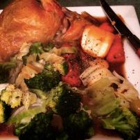 Roast chicken with green veg