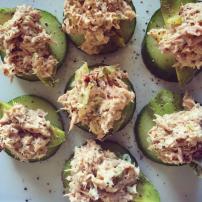 Tuna mayo on avocado and cucumber bites