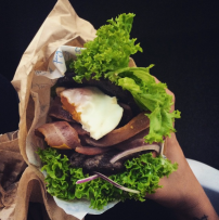 Bunless Fergburger #11 - Southern Swine with extra beef, bacon and egg (also: bacon, avocado, tomato, red onion and aioli)