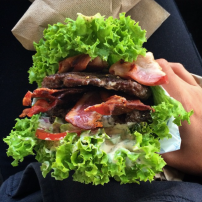 Bunless Fergburger #14 - Southern Swine with extra beef (also: bacon, avocado, tomato, red onion and aioli)