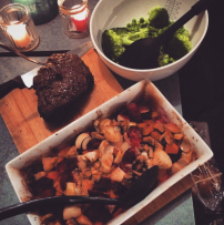 Roasted beef with roasted veg and broccoli