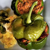 Tuna stuffed capsicums with cheesey baked broccoli and cauliflower